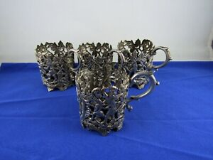Persian solid silver ornate 4 small tea coffee cup glass holders 270 g