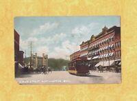 MA Northampton 1908-19 antique postcard TROLLEY CAR ON MAIN ST & SHOPS MASS