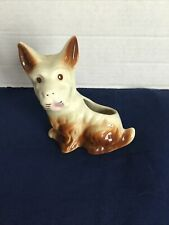 White and Brown Scottish Terrier Scottie Dog with Perky Ears Ceramic Planter