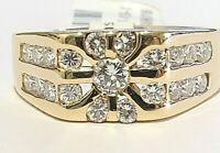 Killer MENS 2 CT DIAMOND STARBURST RING Size 12.5 14K YG Free Ship!