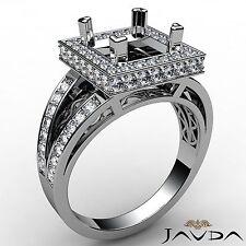 Halo Split Shank Platinum Ring 0.65Ct Princess Semi Mount Diamond Engagement