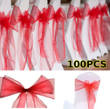 100Pcs Organza Chair Sashes for Wedding Banquet Party Decoration Chair Bows WF