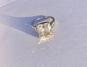 Platinum Diamond Ring 4.21ct Emerald Cut