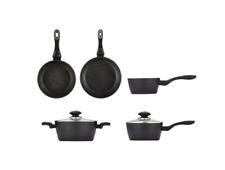 Cookware Set Stone Grey Non-stick Cooking Frypan Saucepan Pot Aluminium Kitchen