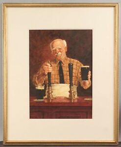 JAMES MALADY Social Realist Watercolor Painting GUINNESS Irish Beer Bartender NR