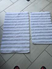 2 White 100% Cotton Bath Mats