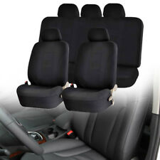 Universal Car SUV Front Rear Head Rests Full Set Seat Cover Protector Black US