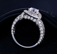 Real 14K Solid White gold 2.45c Round Brilliant cut Anniversary Engagement Ring