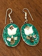 Of Pearl Drop Dangle Pierced Earrings Vtg Mexico Silver Alpaca Inlaid Mother