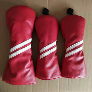 3pcs Red New Golf Club Wood Head Cover Protector Driver Fairway Wood Headcovers