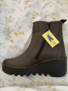 FLY LONDON Brown leather wedge ankle boots