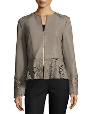 Neiman Marcus Laser-Cut Fit-&-Flare Lambskin Leather Jacket, Taupe Size S