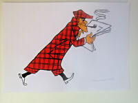 Unikat Mooseart Comic Zeichnung Nick Knatterton Gouache  Papier 21x30cm Original