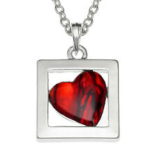 Red Heart Necklace Abalone Shell Pendant Womens Silver Fashion Jewellery 18""