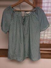 Tulle Women's Small Green Elephants Print Short Sleeve Keyhole Peasant Top Shirt