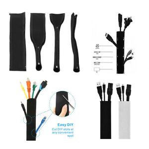 Cable Management Sleeve Zipper Wrap Cord Organiser For Home Office Neoprene