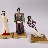 Vintage Asian Dolls Bride Groom Merchants Wife Handmade 4 In Tall