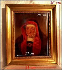Portrait d'une Religieuse en Habit Rouge École Française Peinture Sur Bois 1847