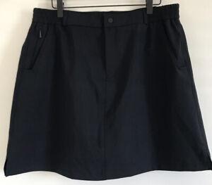 Baleaf Golf Skort Women Sz XL Black Zip Pockets UV-Block Stretch