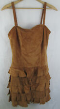APART Suede Leather Dress Ruffle Skirt Spaghetti Strap 8 Festival Party Summer