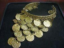 "Vintage Brasstone Metal Embossed Coin Dangle 8"" Arm Cuff Bracelet"