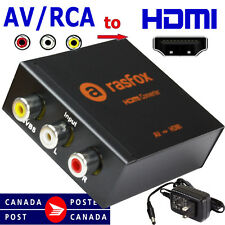 Rasfox AV CVBS RCA Video Audio to HDMI Converter Adapter Box Upscaler 1080P