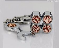 MG CHROME STEEL Tyre Wheel Dust Valve Caps & Keyring mgf zr zt zs tf mgb midget