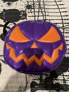 new love pain and stitches purple metallic and orange handmade pumpkin purse