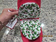 Set Of 2 Holiday Kitchen Oven Mitts-Holly Design -#R8A