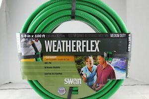 "Green Garden Hose 100' Weatherflex Medium Duty 5/8"" by Swan Products New Unused"