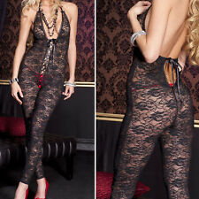 Sheer Floral Lace Footless Crotchless Lace Up Center Keyhole Bodystocking V-Neck