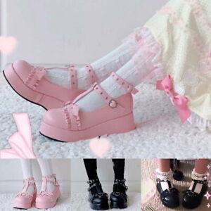 Women's Lolita Cute Platform Fashion High Heels Cosplay Leather Shoes Kawaii Hot