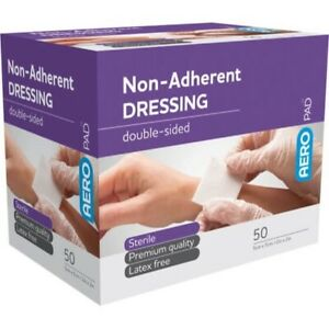 50 x Non Adherent Wound Dressing Pad 5cm x 5cm Sterile Double-Sided First Aid