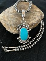 Navajo Pearls Sterling Silver KINGMAN Turquoise Necklace Pendant 4294