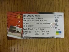 10/11/2004 Ticket: Manchester United v Crystal Palace [Football League Cup] . Th