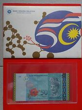 M'SIA RM50 AA 2 ZERO 0019295 GOLD LINE 50TH MERDEKA WITH FOLDER UNC