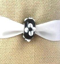 Black White Flower Murano Glass Bead For European Style Charm Bracelet/Necklace