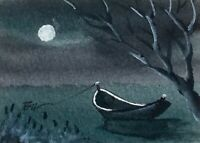 ACEO ATC original art miniature painting ' Boat and Moon ' by Bill Lupton