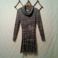 Calvin Klein Sweater Dress Women's Sz M Gray Marled Knit Cowl Neck Long Sleeve