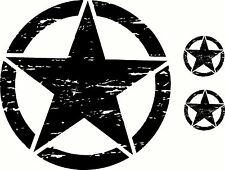 US Army Military Oscar Mike Jeep Wrangler Distressed Star Hood Sticker Decal