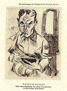 """Max Pechstein """"Selbstporträt""""  Kunstdruck von 1921"""