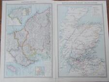 ANTIQUE 1906 HARMSWORTH colour MAPS NORTHERN ENGLAND & SCOTLAND RAILWAY SYSTEMS