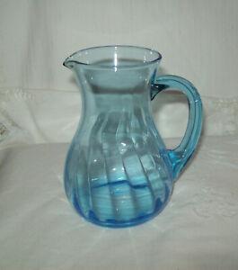 Blue Glass Milk Jug Vertical  Lines Beautiful Colour and Shape