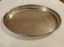 "Vintage International Silver Co Silver Plate Oval 16"" Lattice Sided Tray Platter"