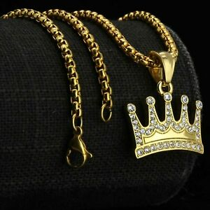 Cz King Crown Pendant Gold Stainless Steel Necklace Round Box Link Chain