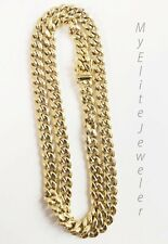10 k Yellow Gold Cuban Link Chain 30 Inch 7mm Mens Real Gold Necklace Box Clasp