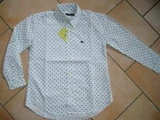 (H560) Etro Milano Boys Hemd Button down glatte BW Motiv & Logo Stickerei gr.152