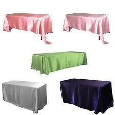 "90x132"" Satin Tablecloths Rectangle Wedding Table Cover Cloth Home Dinner Decor"