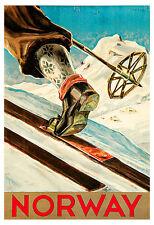 Norway Poster, Ski, Scandinavia, Vintage Norwegian Travel Poster