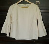 Madewell Womens Tunic Top Blouse Shirts 3/4 Bell Sleeves Striped Pink White Sz M